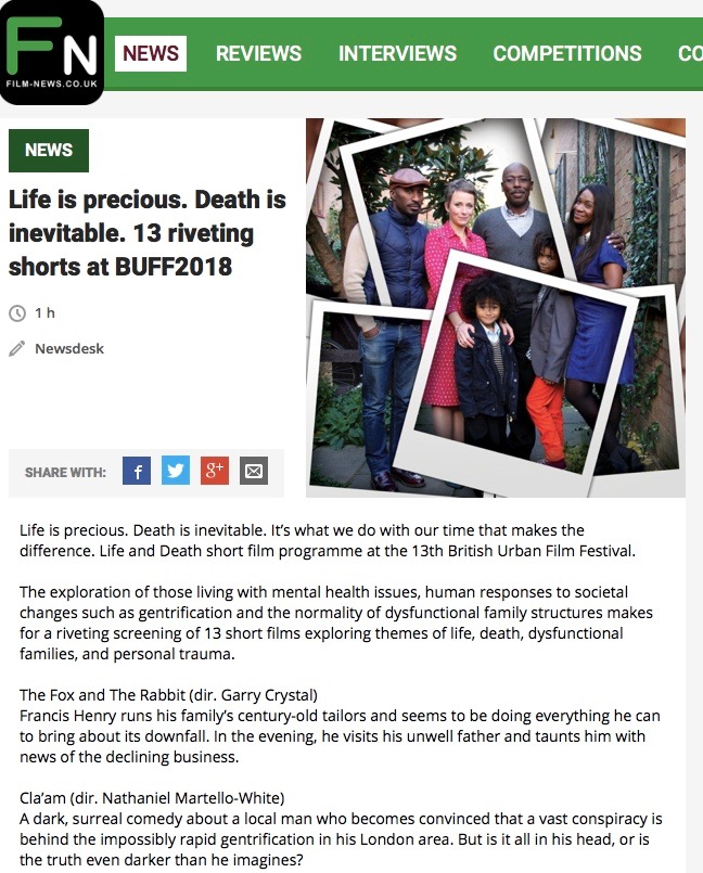 @buffenterprises Life & Death shorts featured by @filmnewsweb