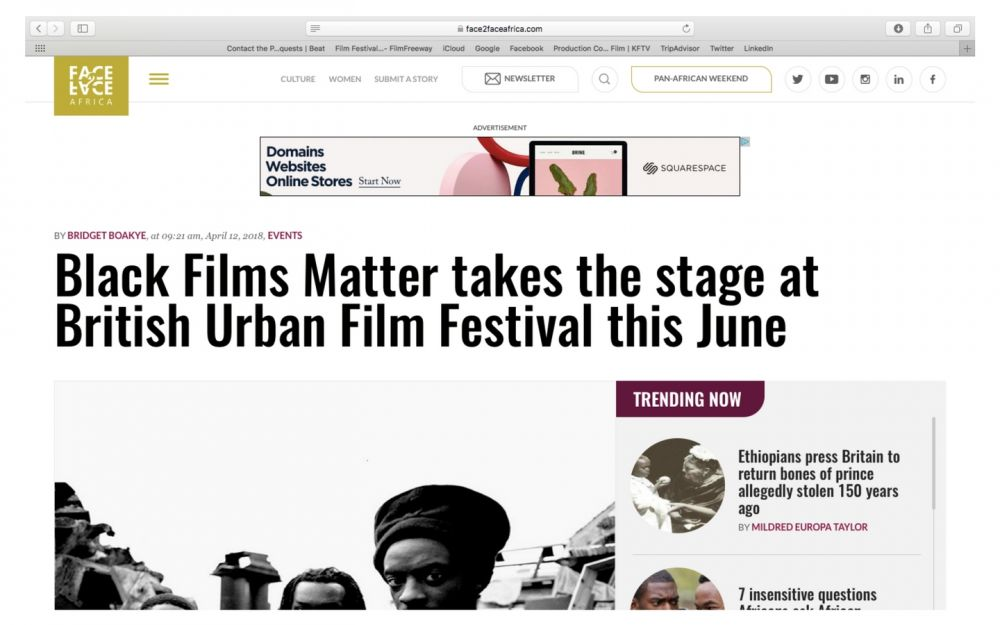 @Face2FaceAfrica features BUFF 2018's #BlackFilmsMatter on website