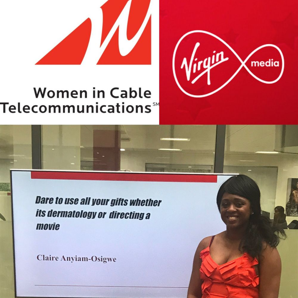 Dermatologist & Film Director @clareanyiamo gives keynote speech for @WICT_UK at @virginmedia – Dare to use all of your gifts