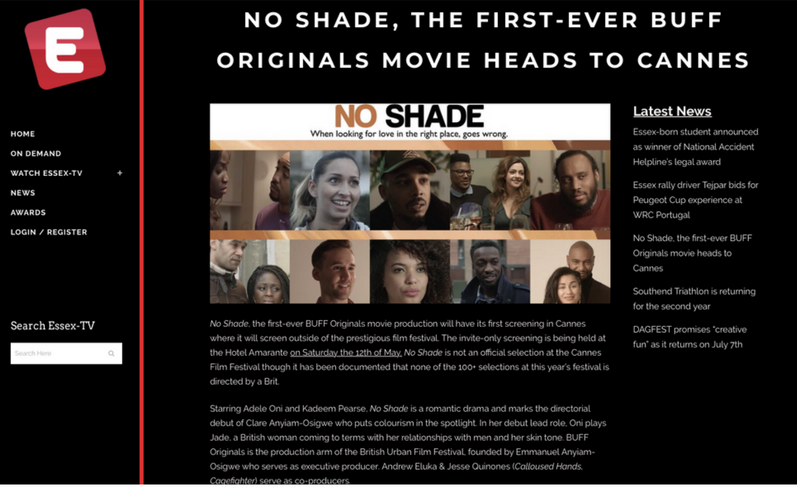 @essextv features @bufforiginals new release @noshadefilm private distributors screening at Cannes today
